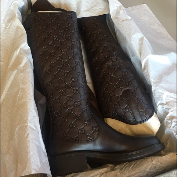 0dc8aa72795 Authentic Gucci Maud Riding Boots Brown